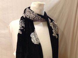 Gorgeous Combo Scarf Velvet and Satin floral vintage rose abstract color choice image 4