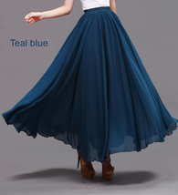 LONG CHIFFON SKIRT Teal Blue Chiffon Skirt High Waisted Wedding Chiffon Skirt image 2