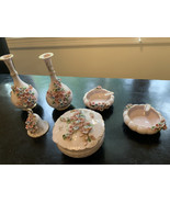 Vintage Vanity Set Norcross Fine China 6 Piece Setting, Bud Vases, Ash T... - $95.00