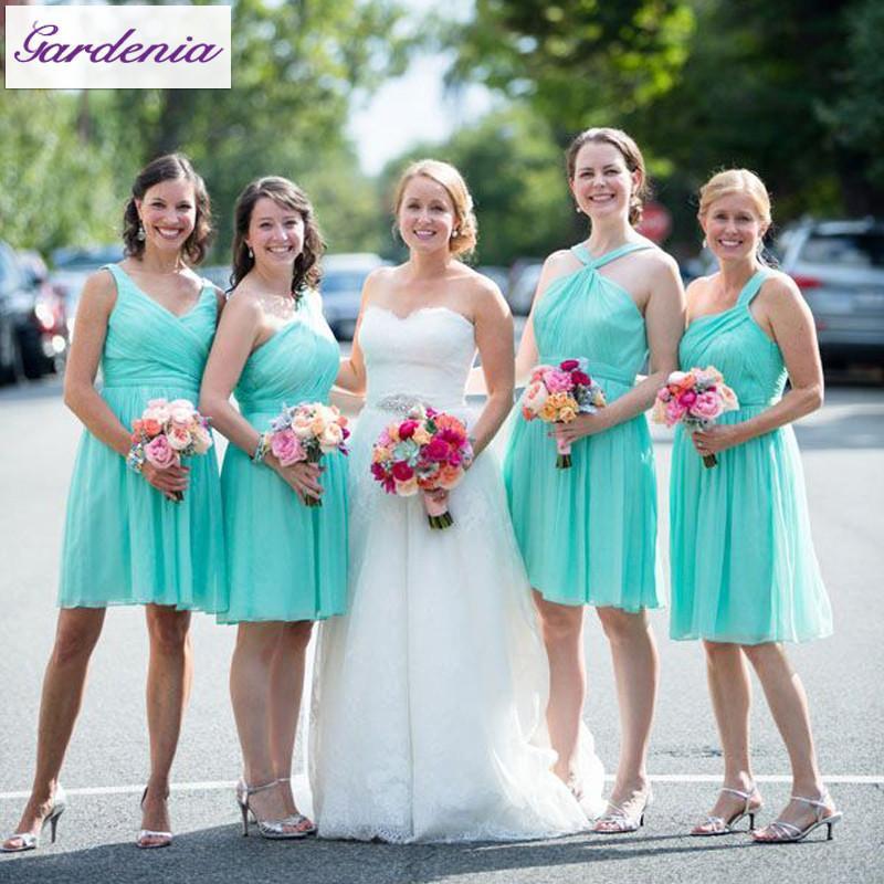 O multi rodilla longitud de la boda vestidos de cintura del imperio de gasa simple cortocircuito