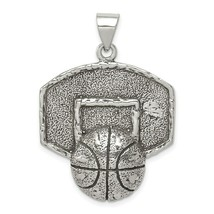Sterling Silver Antiqued Finish Basketball with Backboard Charm Pendant - $46.30