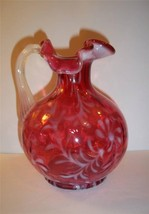 FENTON GLASS CRANBERRY OPALESCENT DAISY & FERN OPTIC PITCHER - $125.62
