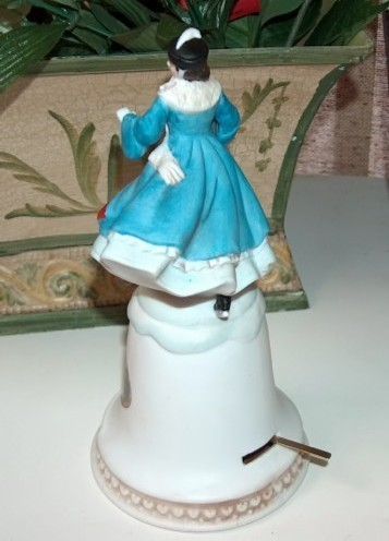 Currier and Ives The Skating Pond Music Box Bell Figurine