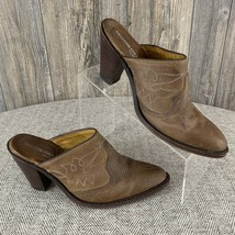 """Kenneth Cole """"Southwest"""" Half Boots Womens 8.5~3.5"""" Heel Brown Leather Open Back - $21.77"""