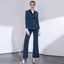 Women's Double Breasted Notched Collar Jacket Blazer & Pants Suit image 9