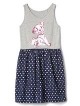 Gap Kids Girl Dress 12 Disney Dalmantia Tank Gray Blue Polka Dot Cotton New - $19.99