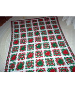 Handcrafted Crocheted Christmas Afghan ~ Granny Squares with Red and Green Heart - $85.00
