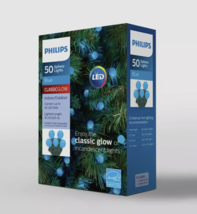 Philips 50ct Christmas Holiday LED Smooth Sphere Blue String Lights image 2