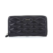 NWT DKNY Diamond Quilt Lamb Large Zip Around Coin Wallet Black Clutch R3... - $65.34