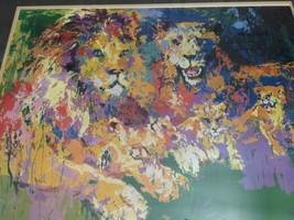 Frame Signed Leroy Neiman Photomechanical Color Process Lions Pride Lion COA image 2