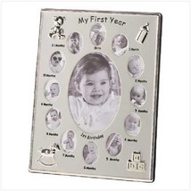 My First Year Baby Photo Frame, Silver Tone 12 Small Windows and 1 Large - $21.99