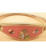 "Mexican Child Bracelet Alpaca Silver 5-1/4"" Vintage pink Enamel Shell Inlay - $0.98"