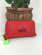 Coach Disney X  Mickey Mouse Red Calf Leather Zipper Cosmetic Case F5982... - $49.49