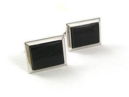 Vintage Silvertone & Black Cufflinks By S in Shield 6117 - $22.76