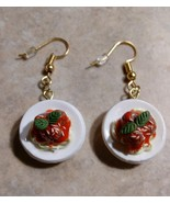 Delicious Spaghetti Plate Charm Earrings Gold Tone Wire Food Charms Spag... - $6.00