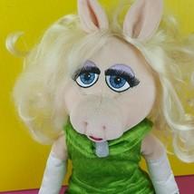 "Disney Store Plush Miss Piggy Doll Muppet Most Wanted Emerald Green Dress 20"" image 2"