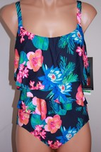 NWT Coco Reef Swimsuit Bikini 1 one  piece Sz 12 36D Ruffle Maillot Navy... - $33.75