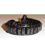 Leather and Black/Gold Bead Bracelet  - $10.00