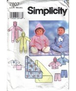 Simplicty 7807 Baby Infant Romper, Jacket, Pants, Top and Blanket - $5.99
