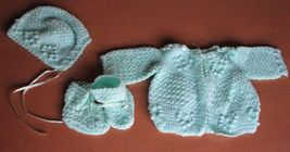 Baby 3 pc Crochet Layette Green Jacket Hat Booties Infants Handmade image 1