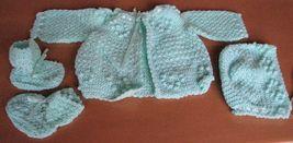 Baby 3 pc Crochet Layette Green Jacket Hat Booties Infants Handmade image 3