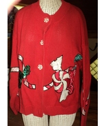 Ugly Christmas Sweater Peppermint Candy Sequins Novelty Buttons Medium - $15.00