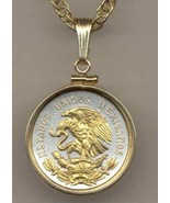 "Mexican 10 centavo ""Eagle"" gold on silver coin pendant necklace - $82.00"