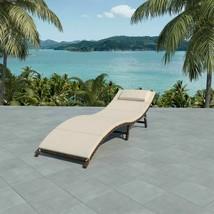vidaXL Outdoor Folding Sun Lounger Poly Rattan Wicker Brown Garden Bed C... - $110.99