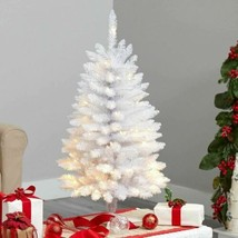 Multicolor Slim White Artificial Christmas Tree with 50 Warm White LED Lights an - $60.51