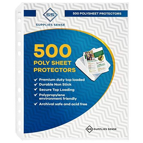 500 Page Protectors 8.5 x 11, Top Loading / 3 Hole Design Sheet Protectors, Arch