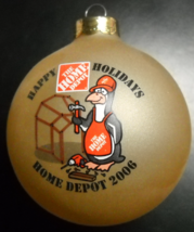 Home Depot 2006 Christmas Ornament Glass Bulb Penguin with Hard Hat Tool... - $6.99