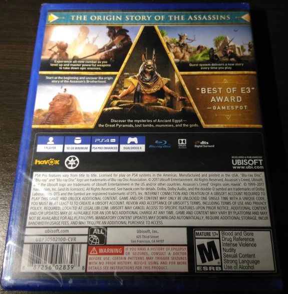 BRAND NEW SEALED Assassin's Creed: Origins (Sony PlayStation 4, 2017) PS4 Game