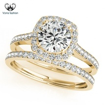 Solitaire With Accents Bridal Ring Set 14k Yellow Gold 925 Silver Round Cut CZ - $87.99