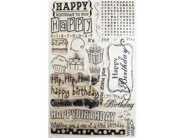 Happy Birthday with Icons Clear Stamp Set