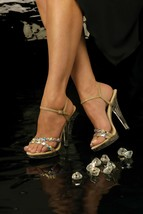 Johnathan Kayne Austria Taupe Nude Pageant Bridal Swarovski High Heel Shoe - $118.99