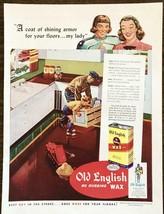 1948 Old English No Rubbing Wax PRINT AD Coat of Shining Armor for Floor... - $11.89