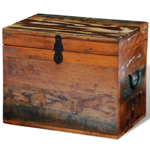Solid Wood Storage Box Reclaimed Antique Handmade Chest Durable Decorative - $74.44