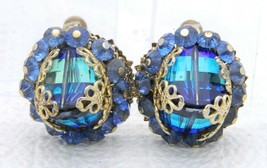 VTG VENDOME Gold Tone Blue Green AB Faceted Heliotrope Rhinestone Earrings - $74.25