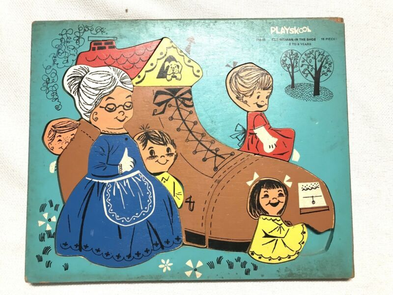 Playschool Old Woman That Lived in a Shoe Wood Jigsaw Puzzle MISSING ONE PIECE - $25.00