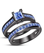 Womens Wedding Anniversary Bridal Ring Set 14k Black Gold Finish 925 Rea... - $97.99