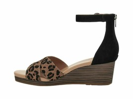 UGG Eugenia Leopard Black Women's Ankle Strap Wedge Sandals 1119731 - $96.00