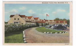 Country Club Cars Manchester New Hampshire linen postcard - $5.94