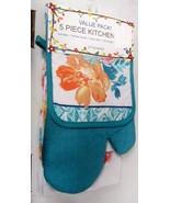 5 pc SET: 1 POT HOLDER, 1 TOWEL, 1 OVEN MITT & 2 DISHCLOTHS, FLOWERS, VA... - $14.84