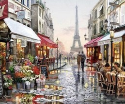 USA - DIY Paint by Number Kit Acrylic Painting Home Decor - The Paris St... - $18.80