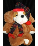 "Commonwealth XMAS Plush 1995 Digby and Dexter St Bernard DOG 20"" Puppy Plaid Hat - $12.32"