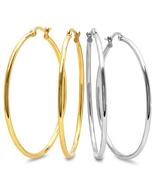 STEELTIME Set of 2 Stainless Steel & 18K Gold Plated 50mm hoop earrings  - $17.99