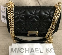 NWT MICHAEL KORS Sloan Small Floral Quilted Leather Shoulder Bag Black/Gold - $175.73