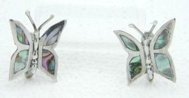 VTG Sterling Silver Abalone Butterfly Signed JBF Hecho En Mexico 925 Earrings - $39.60