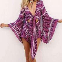 Sexy Cut Out Waist Self-tie Wide Sleeves Romper - $17.70