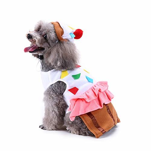 Amakunft Cute Pet Food Costume, Cupcake Pet Suit with Hat for Dog & Cat Hallowee